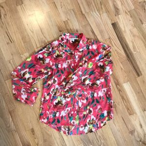 Colorful lightweight polyester button up blouse